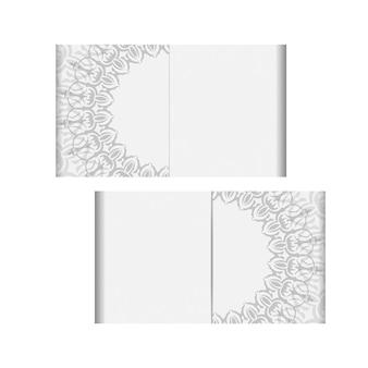 텍스트와 빈티지 장식품을 위한 장소가 있는 초대장을 준비합니다. 인쇄 디자인 엽서에 대 한 벡터 템플릿 만다라 장식으로 흰색 색상입니다.