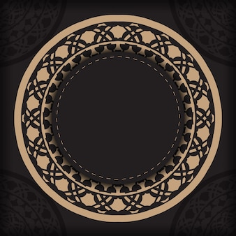 텍스트와 빈티지 패턴을 위한 장소로 초대장을 준비합니다. 그리스 패턴이 있는 검정 색상의 인쇄 디자인 엽서를 위한 고급스러운 벡터 템플릿입니다.