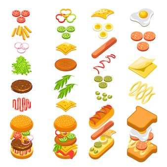 Preparing fast food step by step template colorful poster
