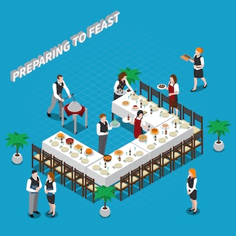 Preparing to feast isometric illustration