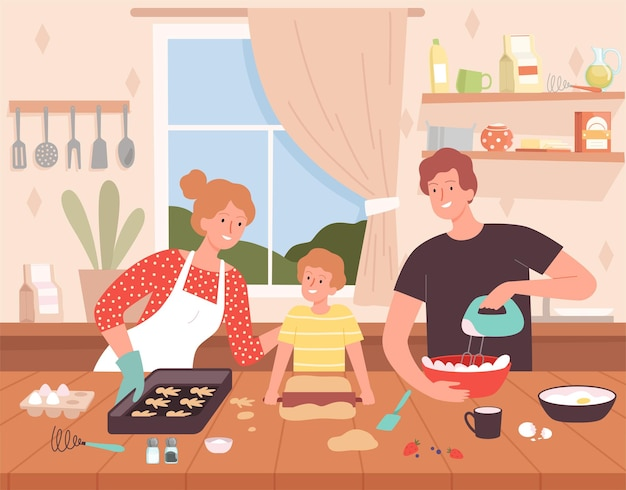 Preparing food on kitchen. cartoon background with happy family characters making delicious products chef baking vector. family cooking together, mother father and son illustration