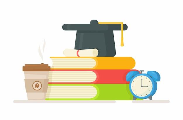 시험 준비. 졸업 모자, 책, 커피 및 알람 시계와 그림