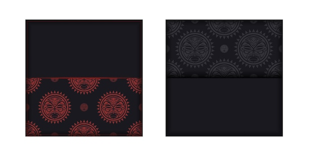 Preparing an invitation with a place for your text and a face in a polizenian style ornaments. template for print design postcards in black color with a mask of the gods.