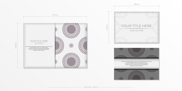 Preparing an invitation with a place for your text and vintage ornaments. luxurious template for print design postcards in white color with dark greek patterns.