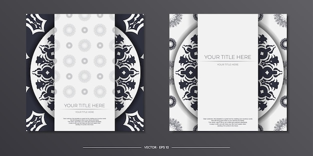 Preparing an invitation with a place for your text and vintage patterns. vector template for print design postcard white color with greek patterns.