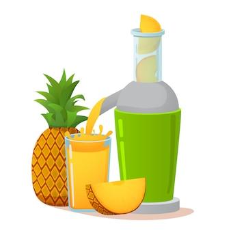 Preparing pineapple juice