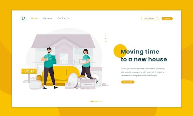 Подготовка к переезду иллюстрации нового дома на концепцию целевой страницы
