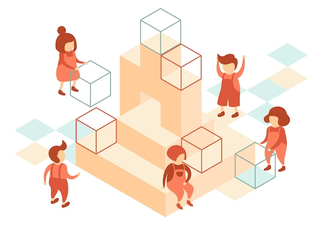 Preschool children use cubes to play on the playground