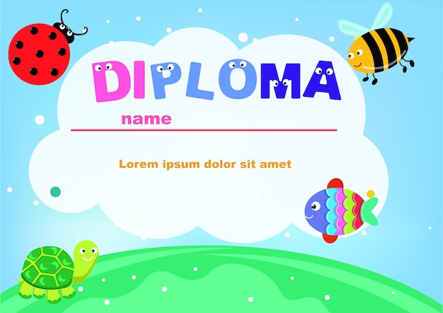 Preschool diploma cute animals