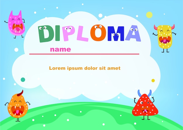 Preschool diploma cute monster