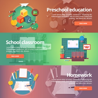 Preschool education. kindergarten. childhood. school classroom. homework making. education and science banners set.   concept.