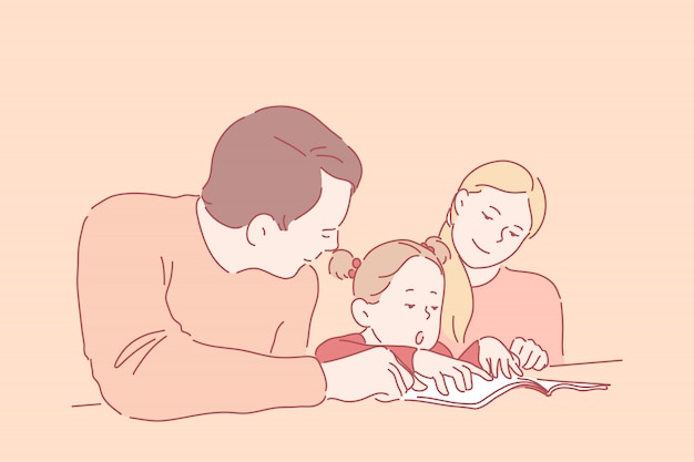 Preschool education, parenthood, childhood . a little girl learns to read or write with young parents. happy, smiling mother and father teach their daughter at home. simple flat