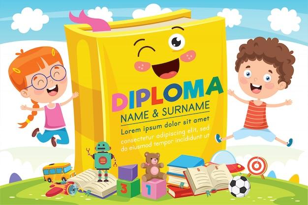 Preschool elementary school kids diploma certificate