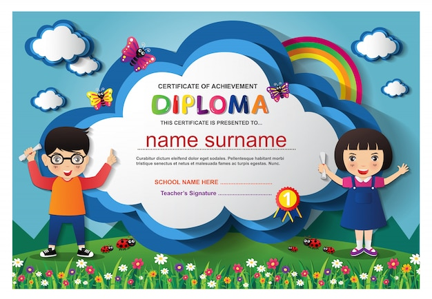 Preschool kids boys and girls diploma certificate