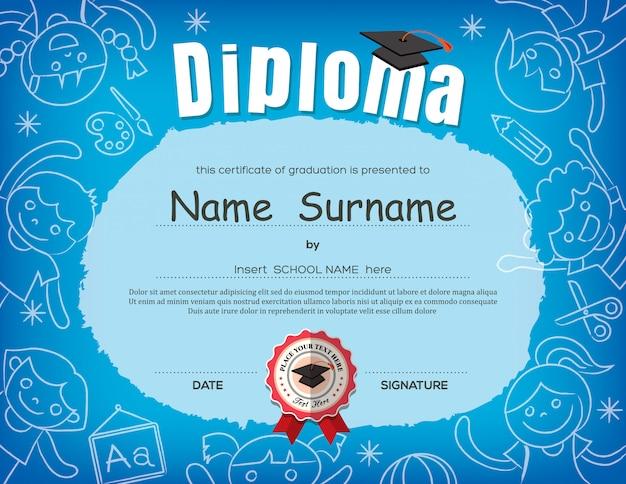 Preschool kids diploma certificate background design Premium Vector