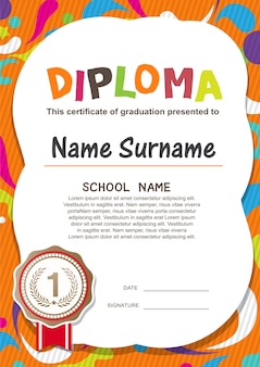 Preschool kids diploma certificate background  template