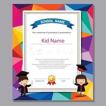 Preschool kids diploma certificate colorful background