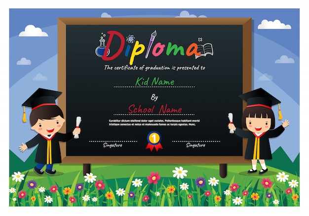 Preschool kids diploma certificate colorful