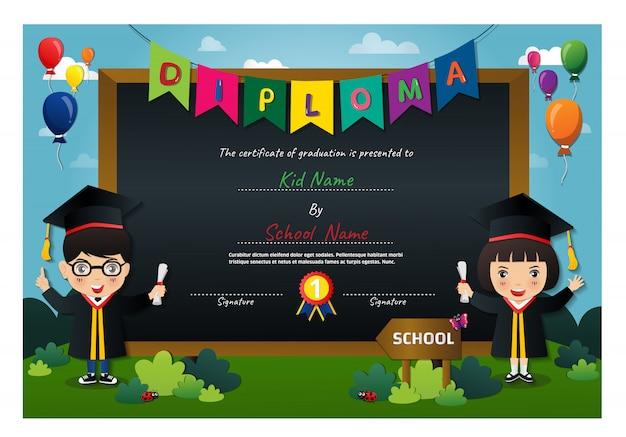 Preschool kids diploma certificate