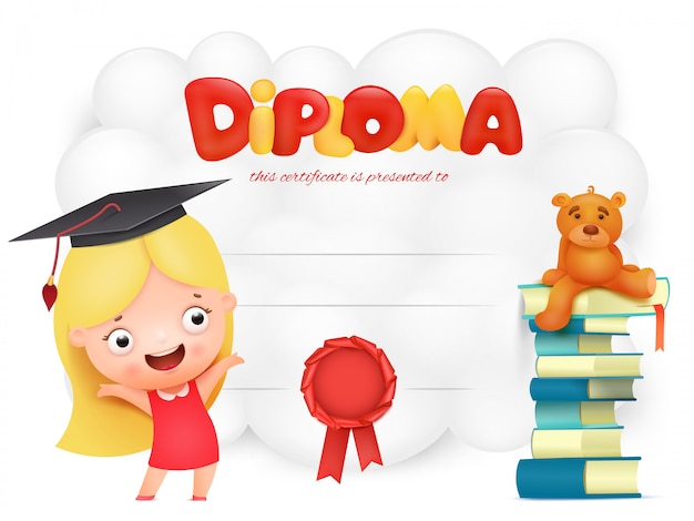 Preschool kids diploma with girl cartoon character.
