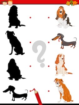 Preschool silhouettes task with dogs