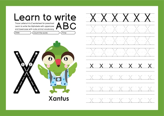 Preschooler trace a to z with letter and animal vocabulary alphabet tracing worksheet x xantus