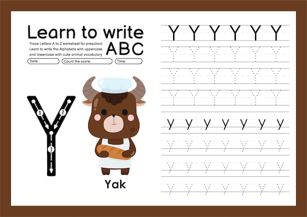 Preschooler trace a to z with letter and animal vocabulary alphabet tracing worksheet y yak