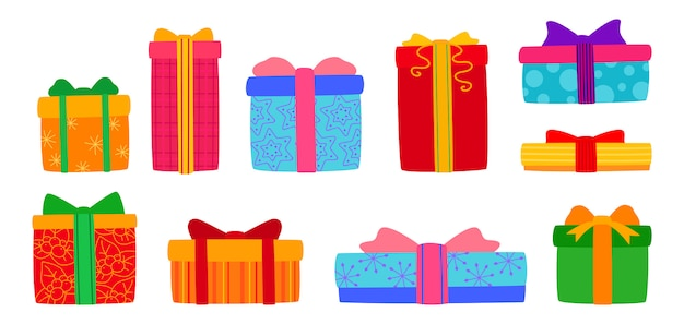 Подарочная коробка рождество плоский набор. мультфильм коробки различной формы с бантами из ленты. праздник милые традиционные красочные и богато украшенные подарки. новый год дизайн коллекции, красочные узоры. иллюстрация