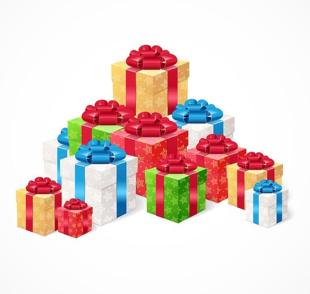선물 상자 세트. 휴일의 선물 상징의 더미.