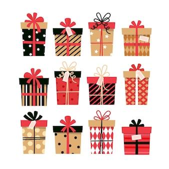 プレゼントボックスコレクション。グリーティングカードのかわいいデザイン。