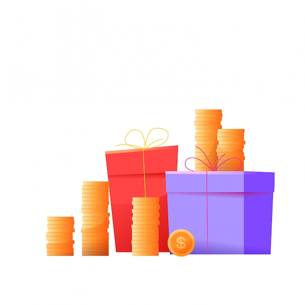 Present boxes pile with wrapping and golden coins stacks, loyalty program and customer bonuses concept.