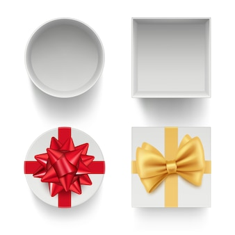 Present boxes with bows. gifts celebration packages with colored ribbons red and golden template isolated
