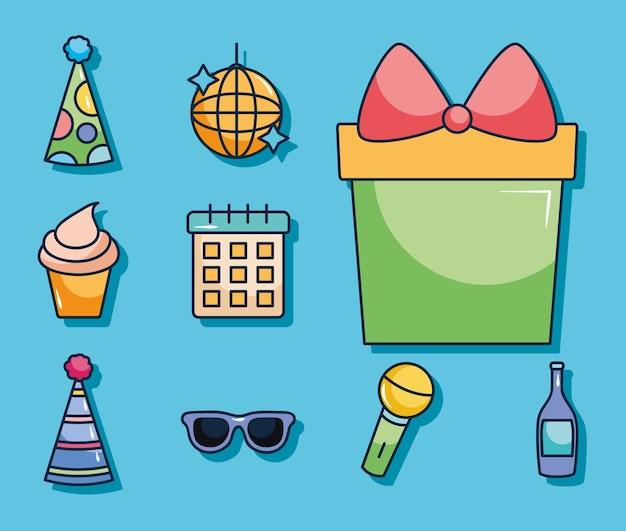 Настоящая подарочная коробка и набор иконок для вечеринки на синем фоне