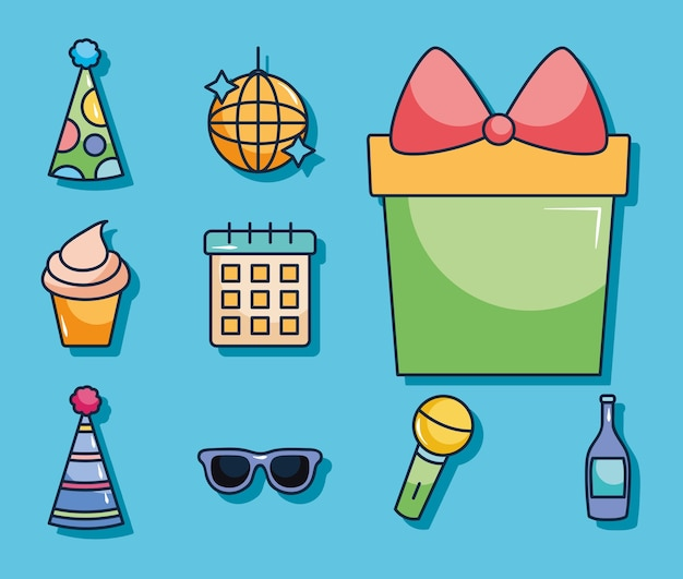 Present gift box and party icon set over blue background