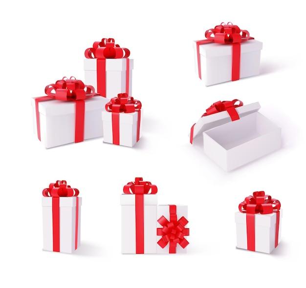 サプライズパッケージを開封して同封したボックスモックアップセットをプレゼント。白い背景で隔離のシルクテープ光沢のある赤いリボンの装飾ベクトルイラストと3次元クリスマスと新年のコンテナ