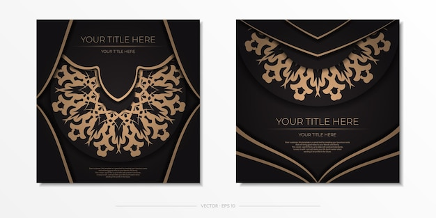 Presentable design of a postcard in black with arabic ornament. stylish invitation with vintage patterns.
