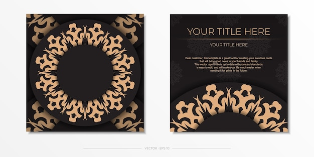 Presentable ready-to-print postcard design in black with arabic patterns. invitation card template with vintage patterns.