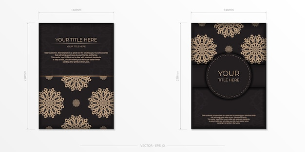 アラビア語のパターンが付いた黒の見栄えのするすぐに印刷できるポストカードデザイン。ベクトル招待カード