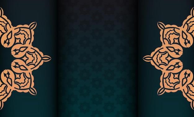 아랍어 패턴이 있는 짙은 녹색 색상의 바로 인쇄 가능한 엽서 디자인. 빈티지 패턴으로 초대 카드 템플릿입니다.