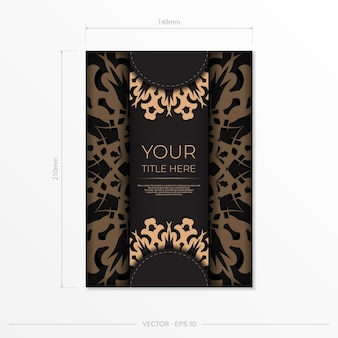 Презентабельный шаблон для полиграфических дизайнерских открыток черного цвета с арабскими узорами. векторная подготовка пригласительного билета со старинным орнаментом.