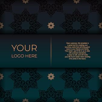 아랍어 패턴이 있는 짙은 녹색 색상의 엽서를 인쇄할 수 있는 템플릿입니다. 빈티지 장식품으로 초대 카드를 준비합니다.