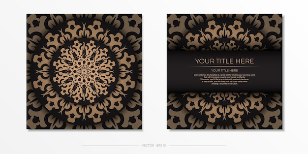 Presentable template for print design postcards in black color with arabic ornament. preparing an invitation card with vintage patterns.