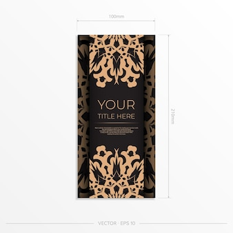 Presentable vector template for print design postcard in black color with arabic ornament. preparing an invitation card with vintage patterns.
