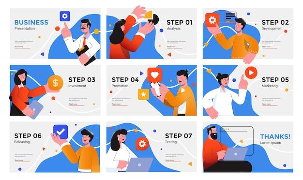 Шаблон оформления презентации и слайда с деловыми людьми в стиле плоского дизайна