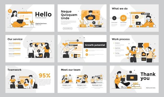 Flatdesign 디자인 스타일의 비즈니스 사람들과 프레젠테이션 및 슬라이드 디자인 템플릿