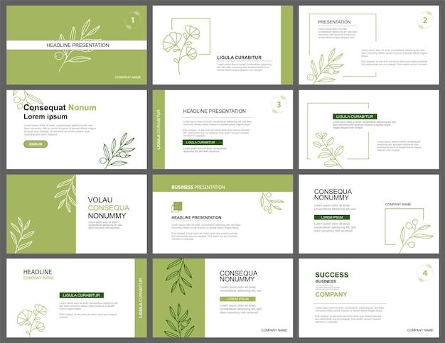 プレゼンテーションとスライドレイアウトの背景デザイン緑の葉テンプレートビジネス基調講演に使用 Premiumベクター