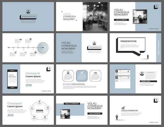 プレゼンテーションとスライドレイアウトテンプレートデザインブルーパステル