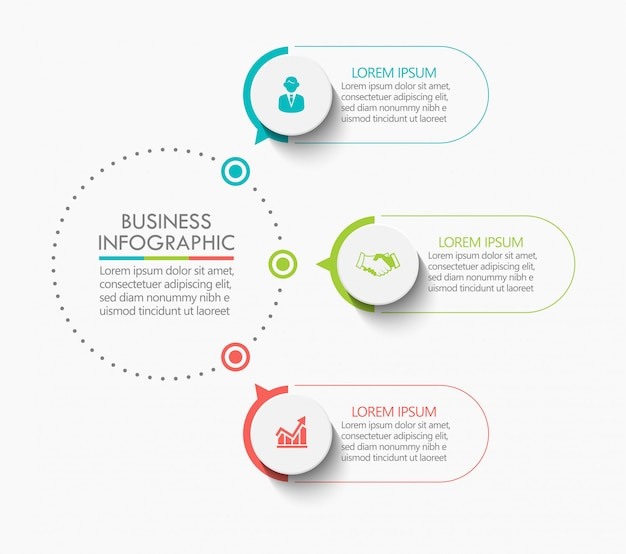 Presentation business circle infographic template with 3 options.