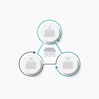 Presentation business circle infographic template with 3 options