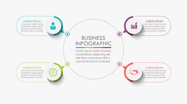 Presentation business circle infographic template with 4 options.